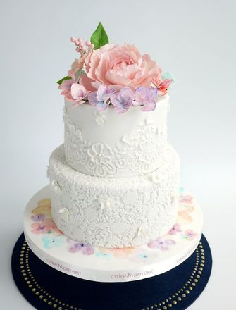 watercolor purple wedding cake hk