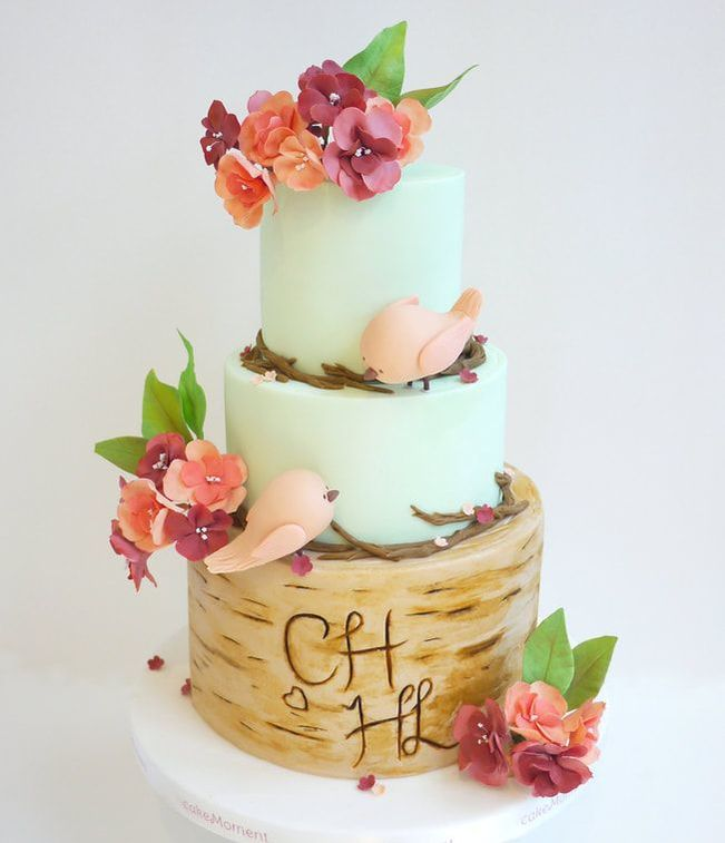 pastel green wedding cake hk love birds