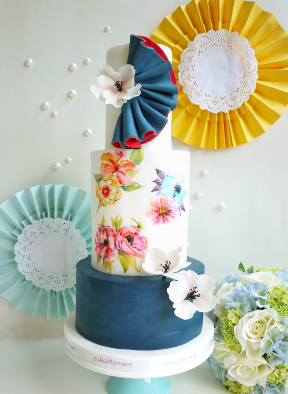 edible painting blue wedding cake hk