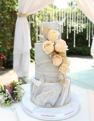 marble rose Wedding cake hk
