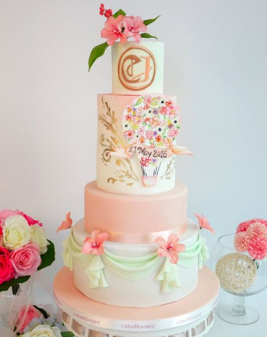 peach wedding cake hk