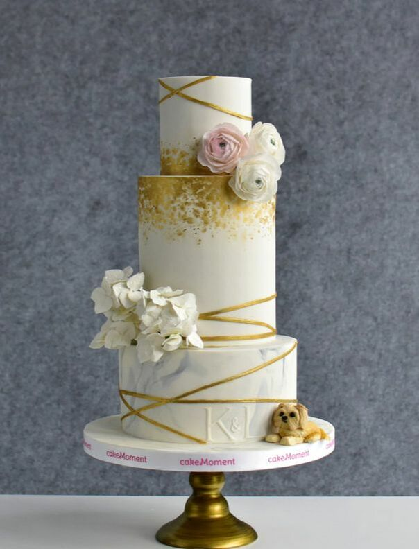 marble orchid geometrical wedding cake hk